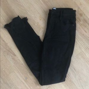 FRAME Black Jeans with Frayed Bottoms